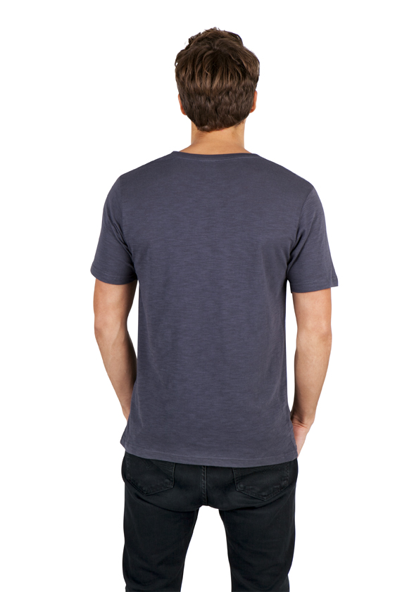 Mens Raw Cotton Wave V Neck Tee
