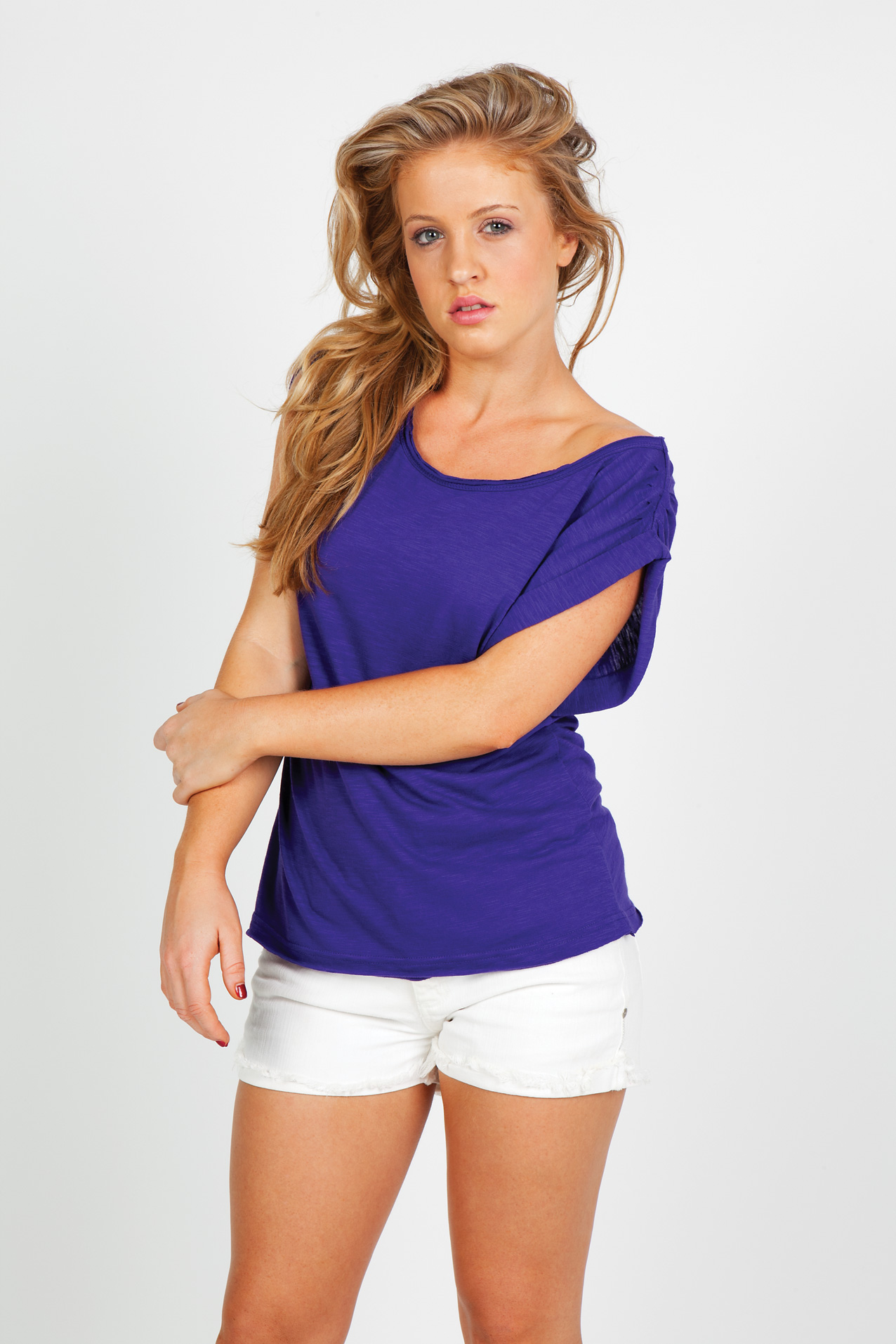 Ladies Wide and Distressed Rib Neck Tee